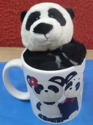 Caneca De Porcelana Urso Panda Presente Romântico Love Amor