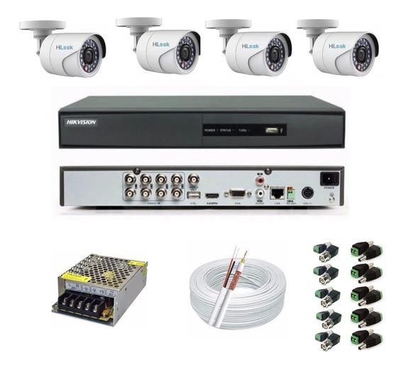Kit Cftv Full Hd Hikvision 4 Câmeras + Dvr 8 Canais