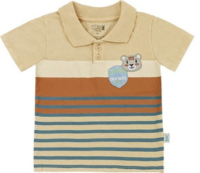 Camiseta Bebê Polo Menino Urso Malha Kk4845pl