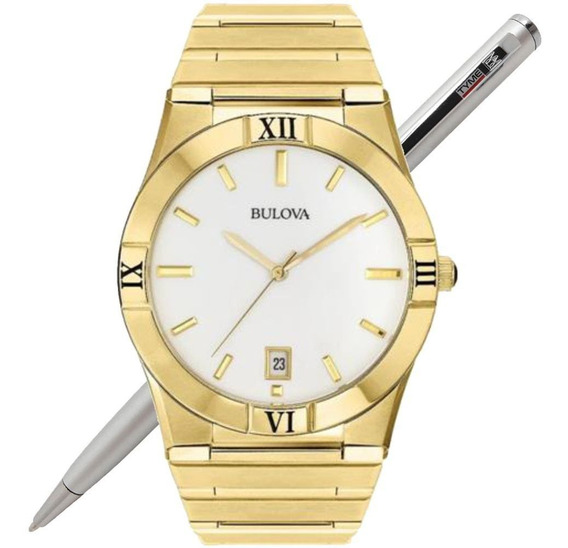 Relógio Bulova Masculino Wb21267h Dourado C/ Nf * 97b101