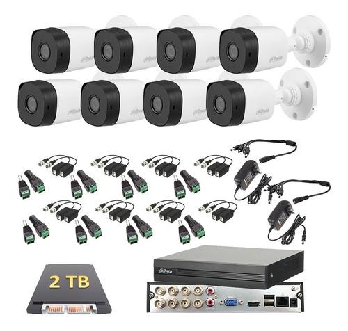 Imagen 1 de 6 de Kit Video Vigilancia 8 Cámaras 1080p Dahua Cctv 2 Tb Baluns