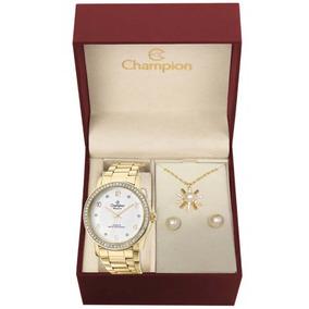 Kit Relógio Feminino Champion Analógico Cn29249d - Dourado