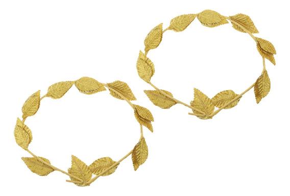 2 Peças Grego Roman Traje Headbands Folhas De Ouro Laurel Ca
