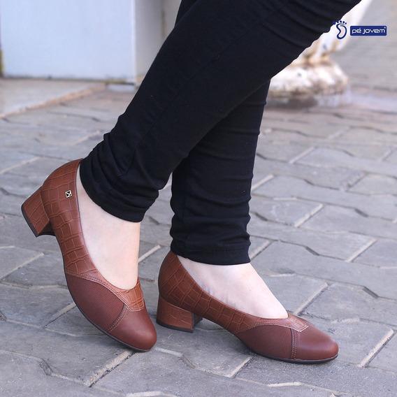 Sapato Salto Baixo Piccadilly Na Cor Amendoa 141095