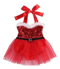 Vestido Bebé Natal Roupa Mamãe Noel Sessão Fotográfica