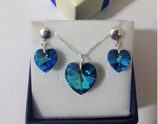 Conjunto Coração Swarovski Bermuda Blue Em Prata 925