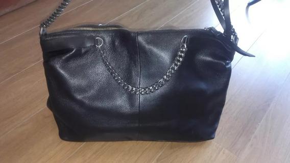 Zara Cartera Original Cuero Negro City Bag