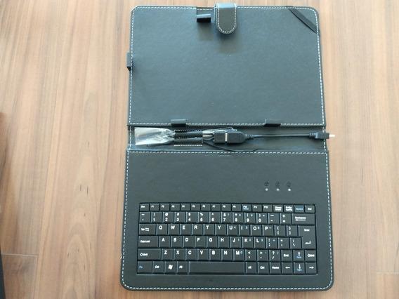 Capa Case Em Couro Para Tablet 10.1 Com Teclado + Cabo Otg