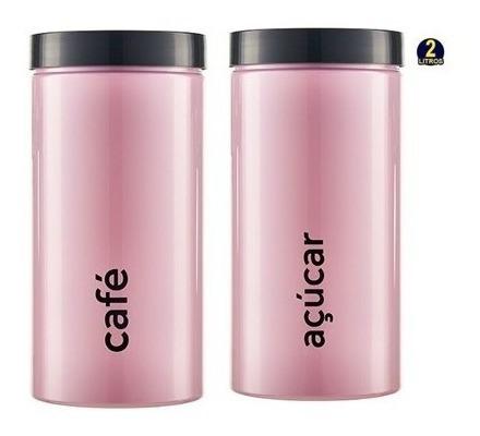 Kit Porta Condimentos Rosa 2 Peças Açúcar E Café