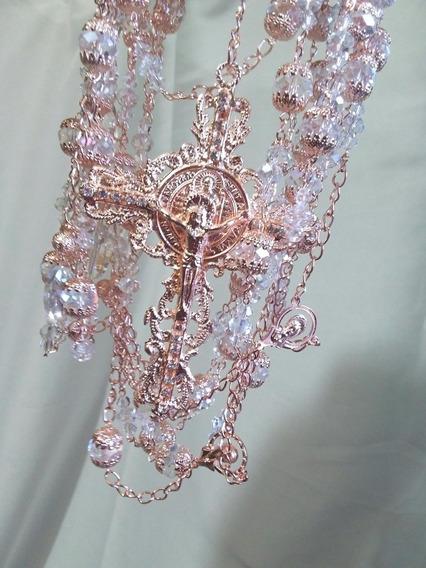 Hermoso Lazo Estilo Vintage Oro Rosa, Perlas Y Cristales