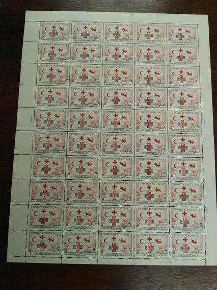 Plancha De Chile 50 Sellos Aniversario Cruz Roja