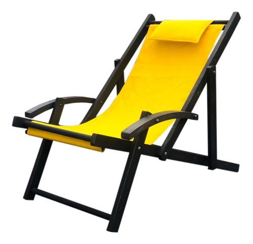 Imagen 1 de 1 de Silla Playa Camastro Repsoera Plegable Madera Tela Envío Gra