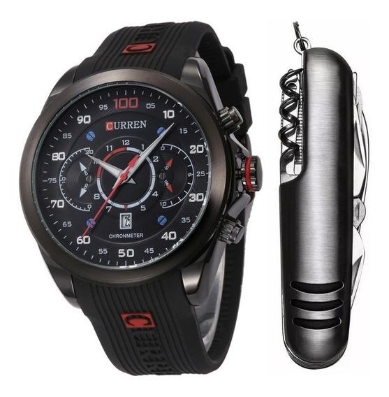 Relógio Masculino Curren Esportivo Preto + Canivete Inox Nfe