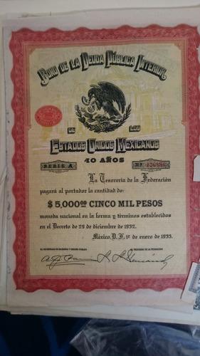 Bonos Mexicanos Águila Negra Moderna De 5000 Pesos