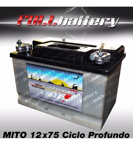 Imagen 1 de 1 de Bateria Mito Ciclo Profundo 12x75 Ideal Nautica Paneles Golf