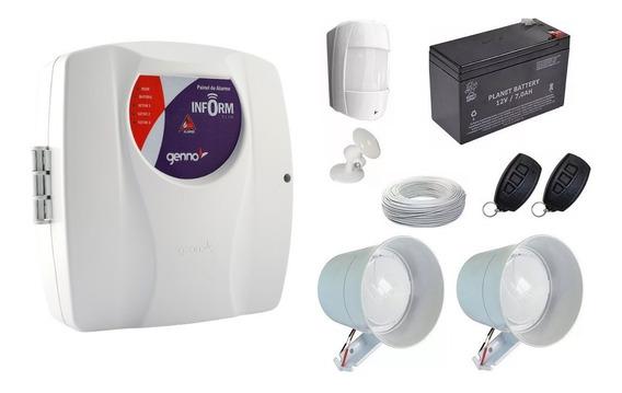 Kit Alarme Central Genno Ultra Slim C/ 1 Sensor + 2 Sirene