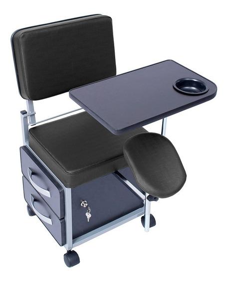 Cadeira Manicure Cirandinha Evolux Estofado Preto Gav Preta