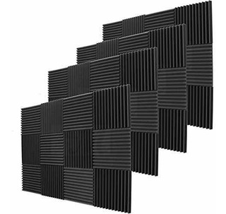 Paquete De 24 Paneles Acústicos Negros Cuñas De Espuma