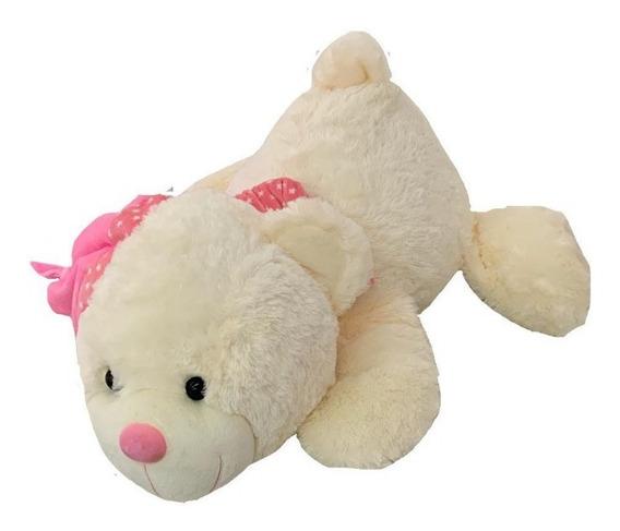 Urso Pelúcia Deitado Rosa Com Touca E Cachecol 62cm