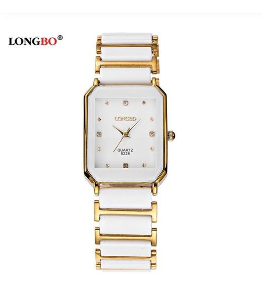 Relógio Feminino Longbo Branco Dourado White Gold Modelo 408