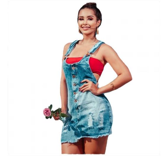 Vestido Jardineira Jeans Salopete S/ Lycra Barato