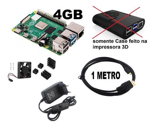 Imagem 1 de 3 de 2 ( Raspberry Pi4 4gb + Case Cabo Hdmi Cooler Fonte Usb C )