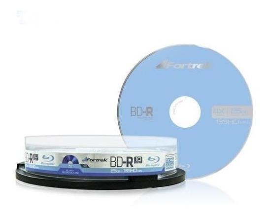 Mídia Bd-r 25gb 4x 135min Blu-ray Fortrek Tubo 10 Unidades