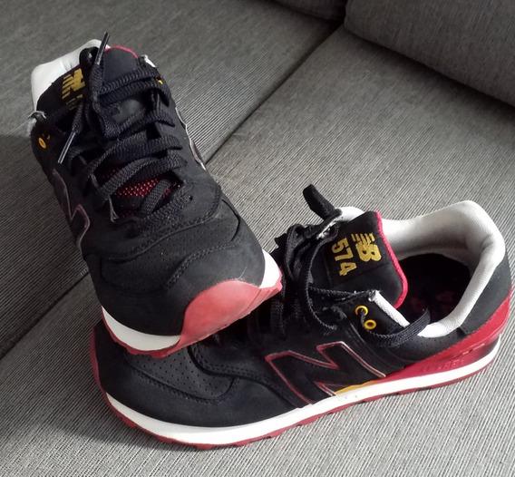 Tênis New Balance 574 Semi-novo - Preto/vermelho/amarelo