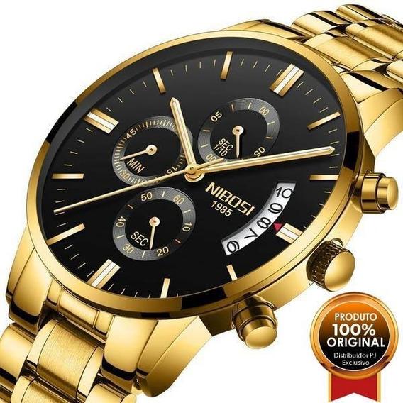 Relógio Blindado Nibosi Masculino De Luxo Funcional Na Caixa