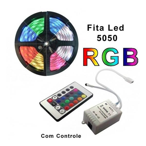 Fita Led Colorida 5050 Rgb 5m 16 Cores Controle Barato