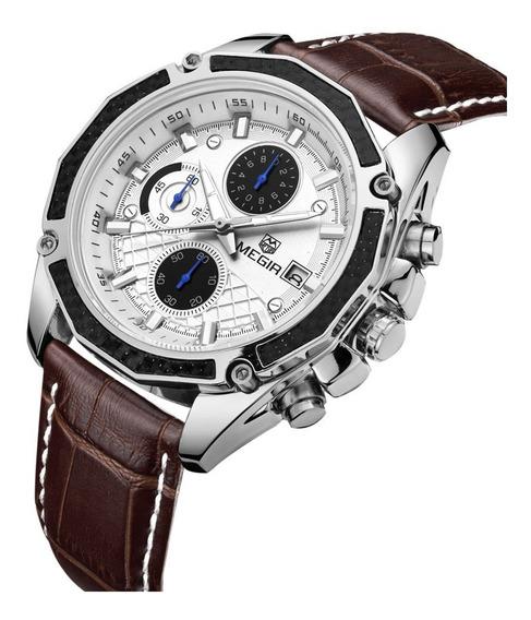 Relógio Pulso - Megir 44mm Quartzo - Vidro Hardlex