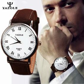 Relógio De Pulso Masculino Yazole Quartz De Couro + Caixinha