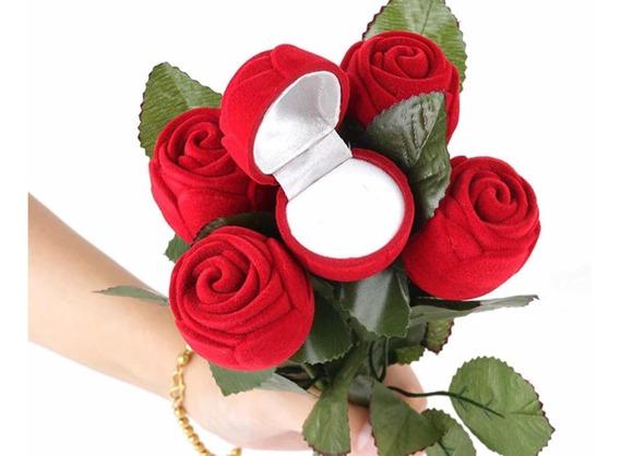 Estuche Anillo Compromiso Rosa Con Tallo Envío Gratis