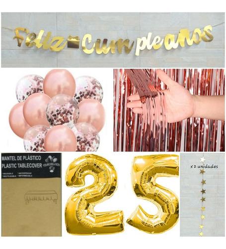Kit Decoración Cumpleaños Mujer Oro Rosa Con Mantel