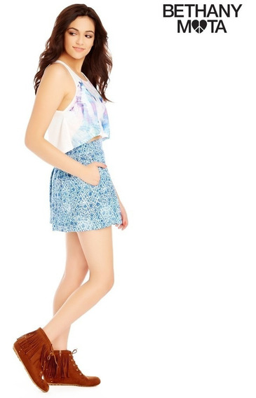 Envio Falda Shorts L Grande Aeropostale Skort Azul Flores Ve