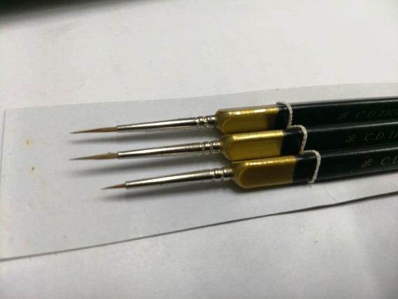 Set Kit 3 Pinceles Liner Profesionales Plunilla Tigre