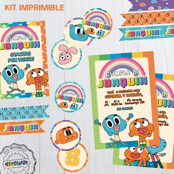 Kit Imprimible Cumpleaños Increible Mundo De Gumball