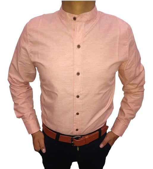 Camisa Cuello Mao Caballero Hombre Formal Casual
