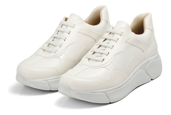 Tênis Piccadilly 986002 Branco Solado Alto Anabela 4 Cm