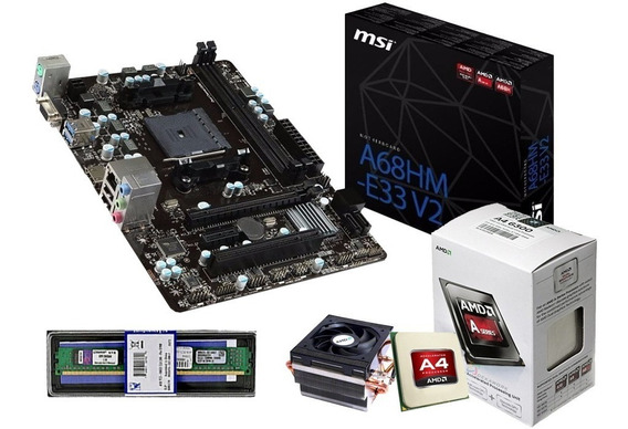 Kit Gamer Msi A68hm-e33 + A6 7480 +ddr3 4 Gb Mem + Ssd 120