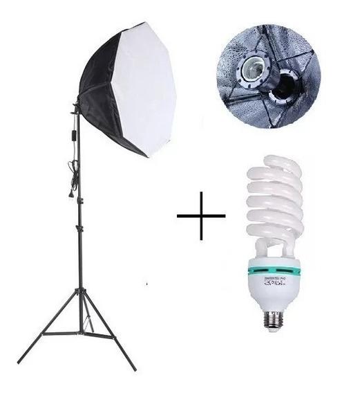 Kit Luz Contínua Softbox Octagonal 60cm Lampada 135w + Tripé