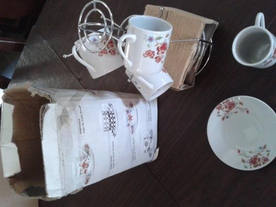 Jogo De Café Com 3 Xícarase Pires E Suporte De Porce
