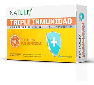 Triple Inmunidad Vitamina C Y D + Zinc Natuliv X 30