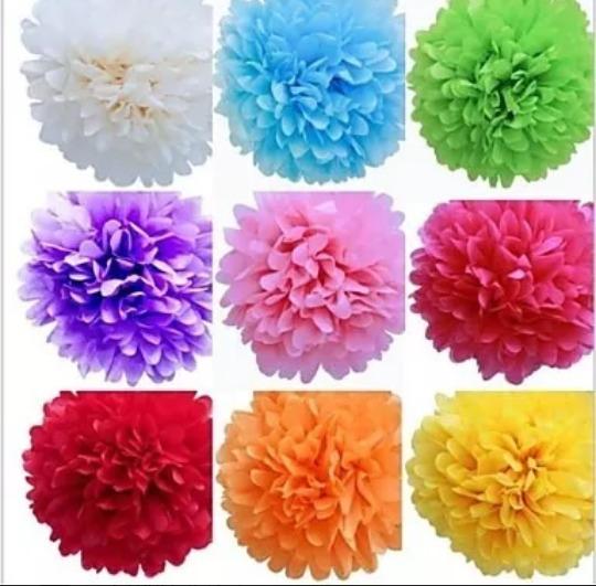 Pompones De 25 Cm - Flores De.papel De Seda - Sin Desplegar