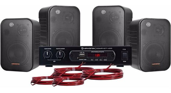 Kit Som Ambiente Preto Bluetooth 400w Ambience Hayonik 4000