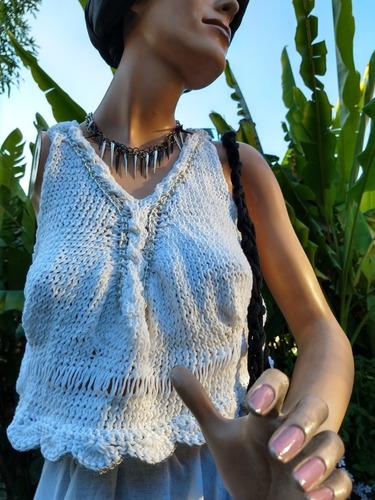 Remera Top Tejida Artesanal Algodon/saten Boho Crochet