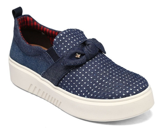 Tênis Slip On Cravo & Canela Nó Azul Jeans Lançamento 161901