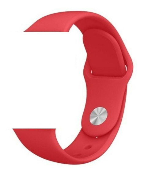 Pulseira Sport Para Apple Watch Em Silicone-42/44mm-vermelha