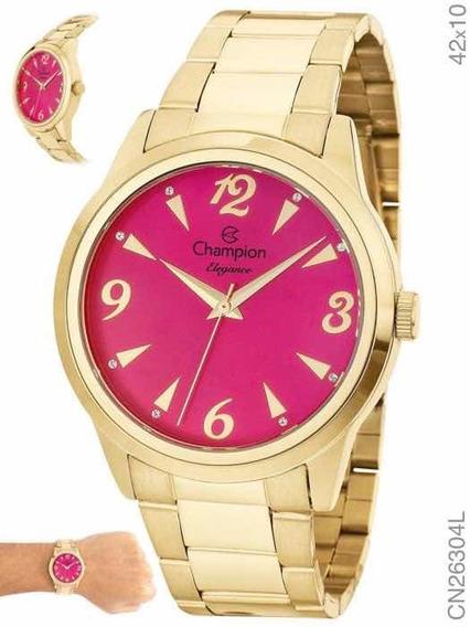 Relógio Champion Dourado Cn26304j Com Brinde Brinco Pérolas
