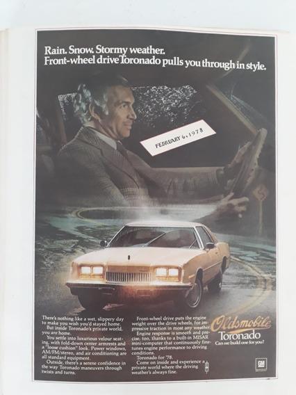 Propaganda Antiga Oldsmobile Toronado 1978 Raro Publicidade